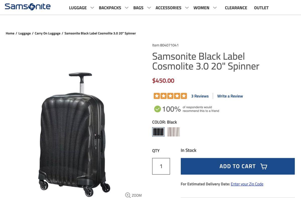 修学旅行用キャリーバッグ ビジネス旅行 3泊まで サムソナイト コスモライト